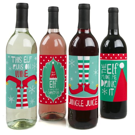 Elf Squad - Elf Christmas Wine Bottle Label Stickers - Set of 4 (Elf Crafts)