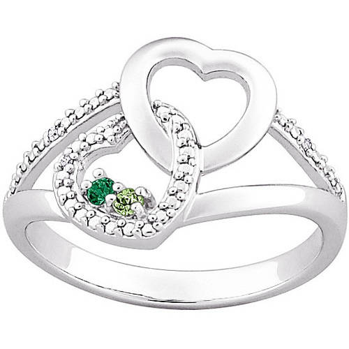 Personalized Sterling Silver Couple's Hearts Birthstone and Diamond Ring