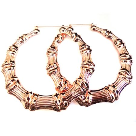 Large Bamboo Hoop Earrings Rose Gold Plated 3.5 inch Hoops (Bamboo Hoop Earrings Gold)