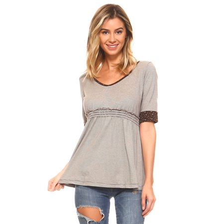 Brown High Top - Urban Love Women's Striped Hooded Babydoll Short Sleeve Top - Brown - X-Small