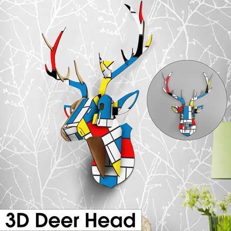 29*46*61cm 3D Puzzle Wooden Wall Art DIY Model Wall Hanging Deer Head Elk Wood Animal Wildlife Painted Ornament Arts Crafts Home Decoration Museum](Diy Wood Wall Art)