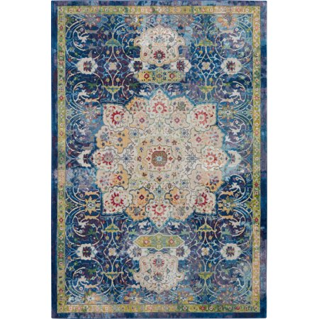 Nourison Global Vintage Oushak Bordered Blue Area Rug