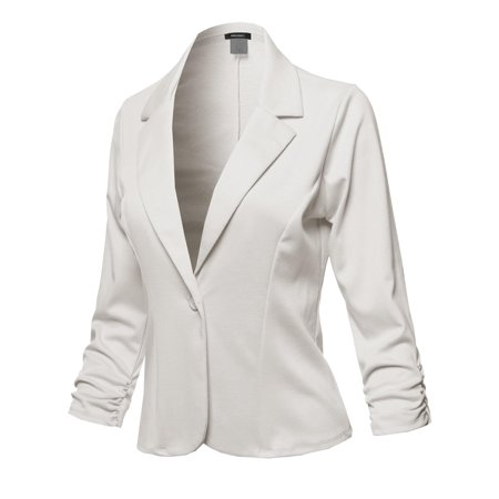 FashionOutfit Women's Casual Solid One Button Classic Blazer Jacket - Made in USA - Ivy Blazer Buttons