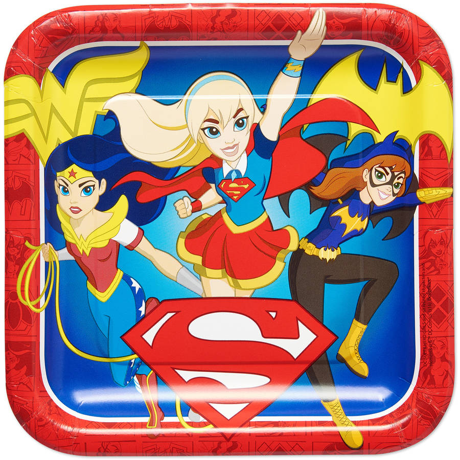 "DC Super Hero Girls 9"" Square Plate, 8 Count, Party Supplies"