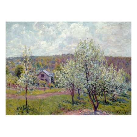 Spring in the Environs of Paris, Apple Blossom, 1879 Impressionist Orchard Country Painting Print Wall Art By Alfred Sisley