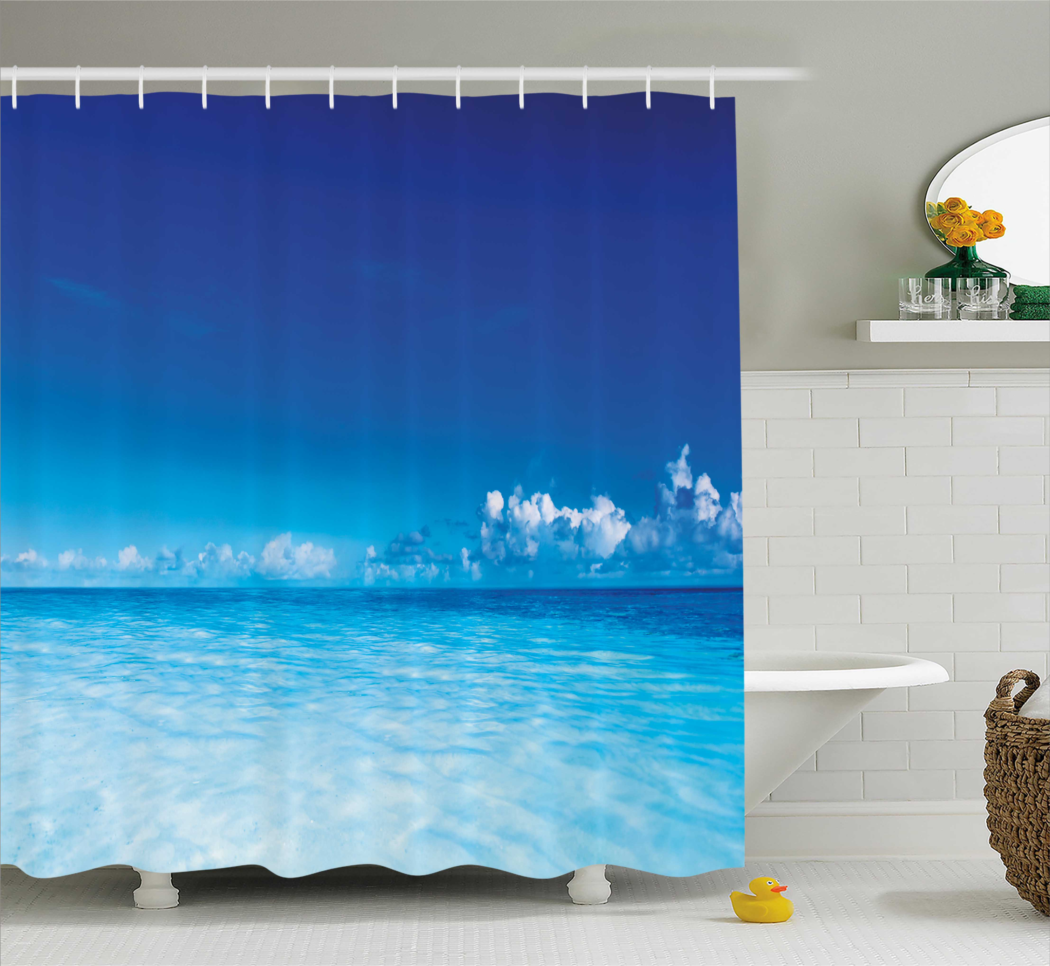 Landscape Shower Curtain, Ocean Scenery Deep Sea Beach Hot Summer Themed Photo, Fabric Bathroom Set with Hooks, 69W X 70L Inches, Turquoise Light Blue and Dark Blue, by Ambesonne