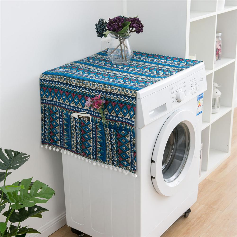 Ethnic Style Refrigerator Dustproof Cover Japanese Geometric Pattern Single Drum Washing Machine Towel Walmart Com Walmart Com