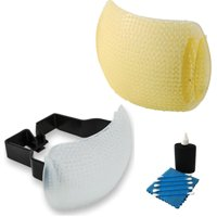 Gary Fong Puffer Plus Pop Up Flash Diffuser For Nikon, Pentax, Panasonic, Lumix, Samsung Cameras With Warming Shield Flash Diffuser (Amber) + Camera & Lens 3 Piece Cleaning Kit