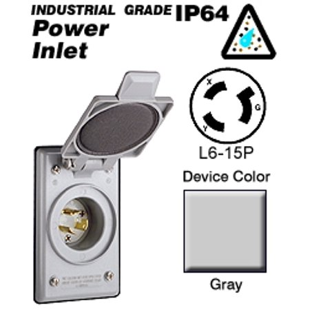 Leviton 4586-CWP Flanged Inlet Locking Blade L6-15P 15A 250V 2P3W Grounding - Gray