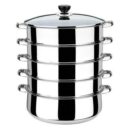 Moaere 16''Stainless Steel 5 Tier Steamer Pot Steaming Cookware (3 Tier Steamer Stainless Steel)