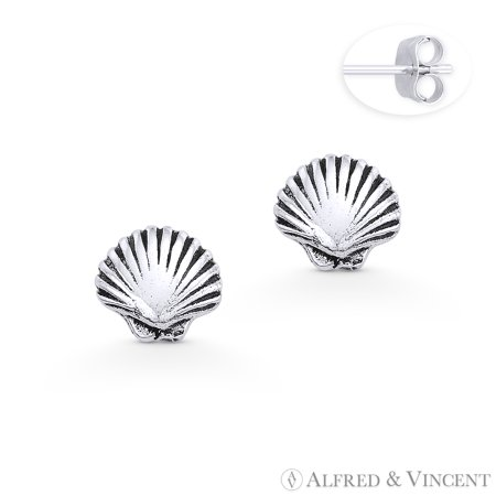 Scallop Clam Seashell Charm Stud Earrings in Oxidized .925 Sterling Silver