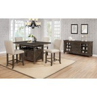 5pc Country Style Counter height Set Upholstored C.H. Chairs And Storage under table, Rustic Finish