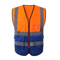 High Visibility Safety Vest with Pockets Reflective Strips ZipperWorking Clothes Safety Waistcoat