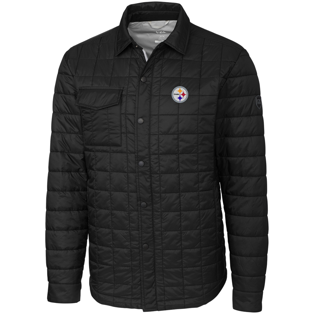 Pittsburgh Steelers Cutter & Buck Rainier Shirt Jacket - Black