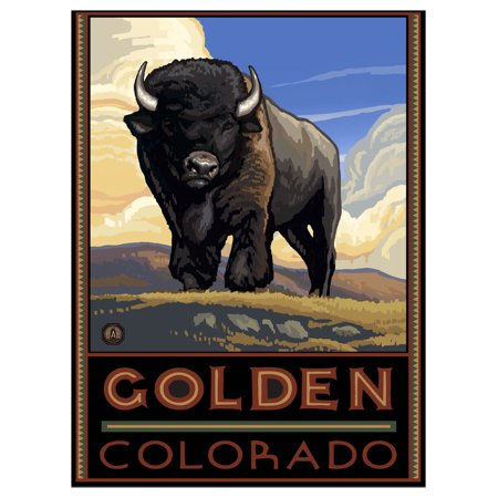 "Golden Colorado Buffalo Travel Art Print Poster by Paul A. Lanquist (9"" x 12"")"