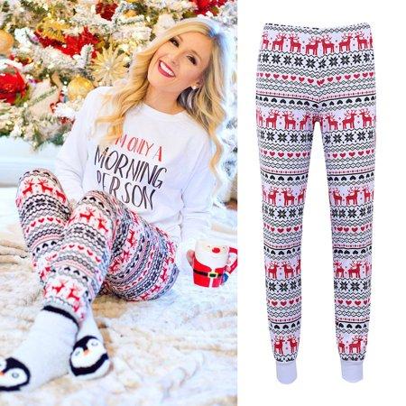 (Mosunx Christmas Womens XMAS Elk Print Pajamas Slim Fitness Pants Trousers)
