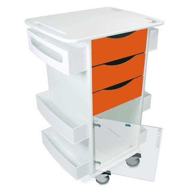 TrippNT 51433 Polyethylene Deluxe Medical Cart with Swinging Hinged Door, Pumpkin Orange - 23 x 35 x 19 in.