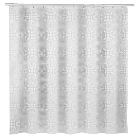 Water-resistant PEVA Ball Pattern Clear Plastic Shower Curtain Thicker-Extra Long with Hooks Ring,White(72-Inch-By-72-Inch) - Plastic Curtains