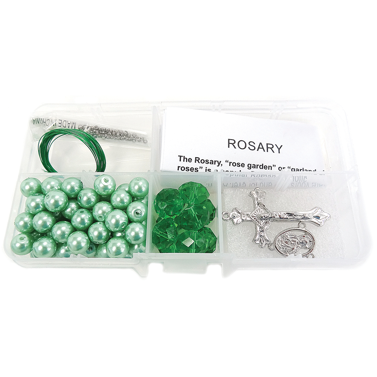 Crystal & Pearl Rosary Bead Kit-Peridot Crystal Beads & Lt. Green Pearls