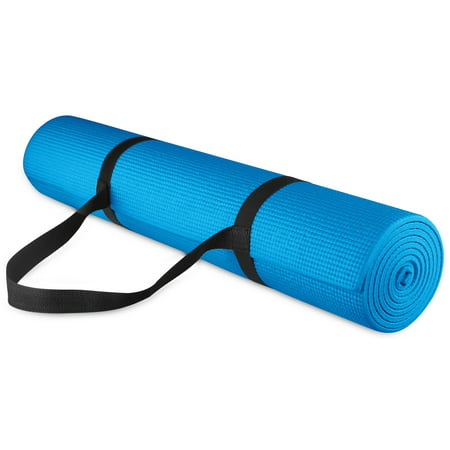 BalanceFrom 1/4-inch Thick All Purpose High Density Non-Slip Yoga Mat with Carrying Strap (Omega Yoga Mat)