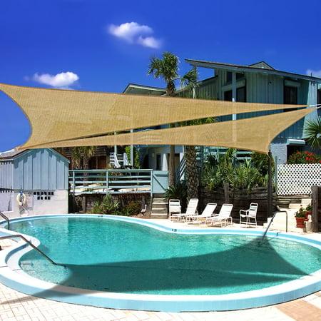 Sail Triangle - Mllieroo 16.5' x 16.5' x 16.5' Sun Shade Sail Triangle Sand UV Block Perfect for Outdoor Patio Garden,Desert Sand
