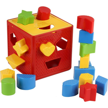 Shape Sorting Cube (Baby Blocks Shape Sorter Toy - Childrens Blocks Includes 18 Shapes - Color Recognition Shape Toys With Colorful Sorter Cube Box - My First Baby Toys - Toys Gift For)