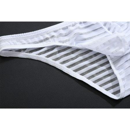 fedd73a27 ZAXARRA - Ice Silk Sexy Men Briefs Elastic Thongs G-String Bikini Swimwear  Underwear Red M - Walmart.com