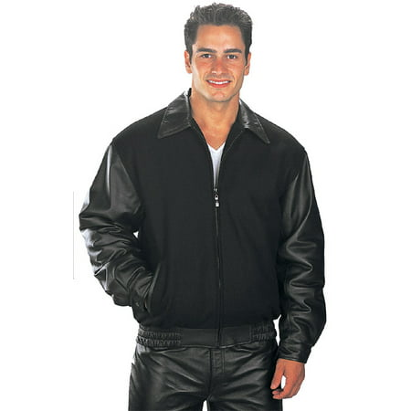 USA Leather Classic Mens Black Leather/Wool Varsity Jacket - All Time Low Varsity Jacket