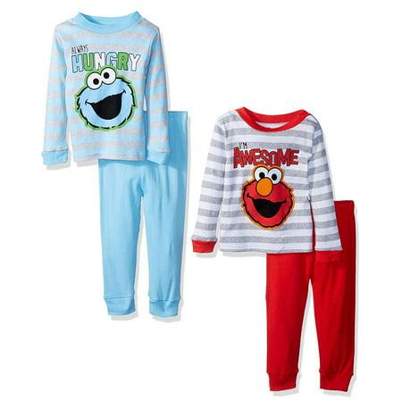 Sesame Street Baby Boys Elmo & Friends 4-Piece Cotton Pajama Set, Sesame Stripes, Size: 12 Months](Elmo Bow)