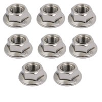 8pcs M10 x 1.25mm Pitch Metric Fine Thread 304 Stainless Steel Hex Flange Nut