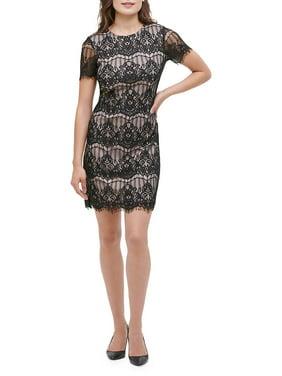 Short Sleeve Lace Sheath Dress