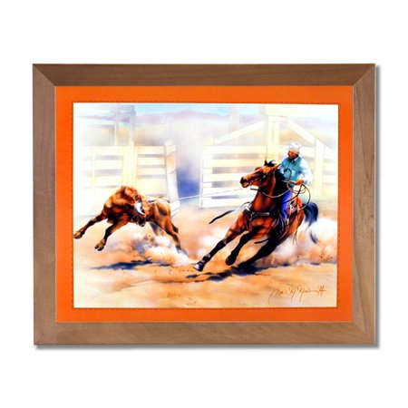 Rodeo Western Cowboy Calf Roping Animal Wall Picture Honey Framed Art (Calf Leather Honey)