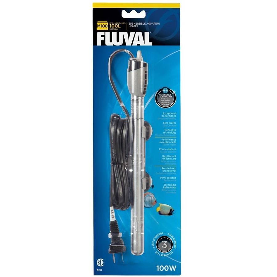 Fluval M100 Submersible Glass Aquarium Heater, 100W