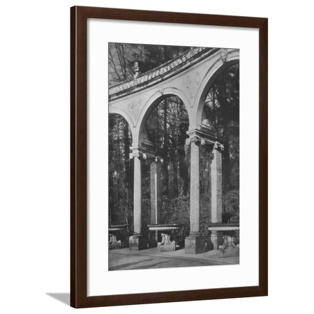 Cd Clarence Fountain - Detail of colonnade and fountains, Temple of Music, Versailles, France, 1924 Framed Print Wall Art