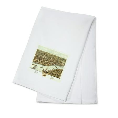 Moline, Illinois - Panoramic Map (100% Cotton Kitchen Towel) (Party City Moline Illinois)