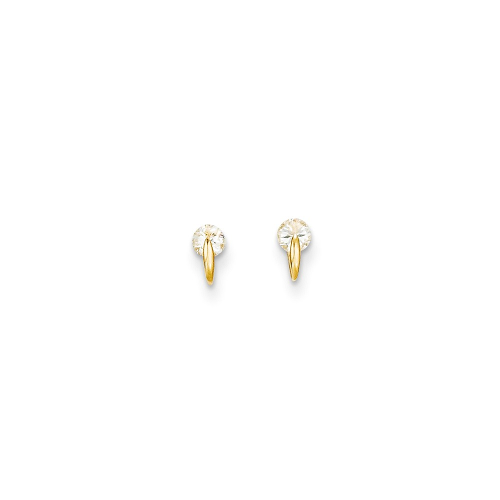 14k Yellow Gold Childs CZ 3mm Post Earrings w/ Gift Box.
