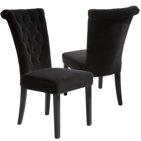 Embassey Black Velvet Dining Chair Set Of 2 Walmart Com