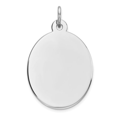 Sterling Silver Engravable Oval Polished Front and Back Disc Charm