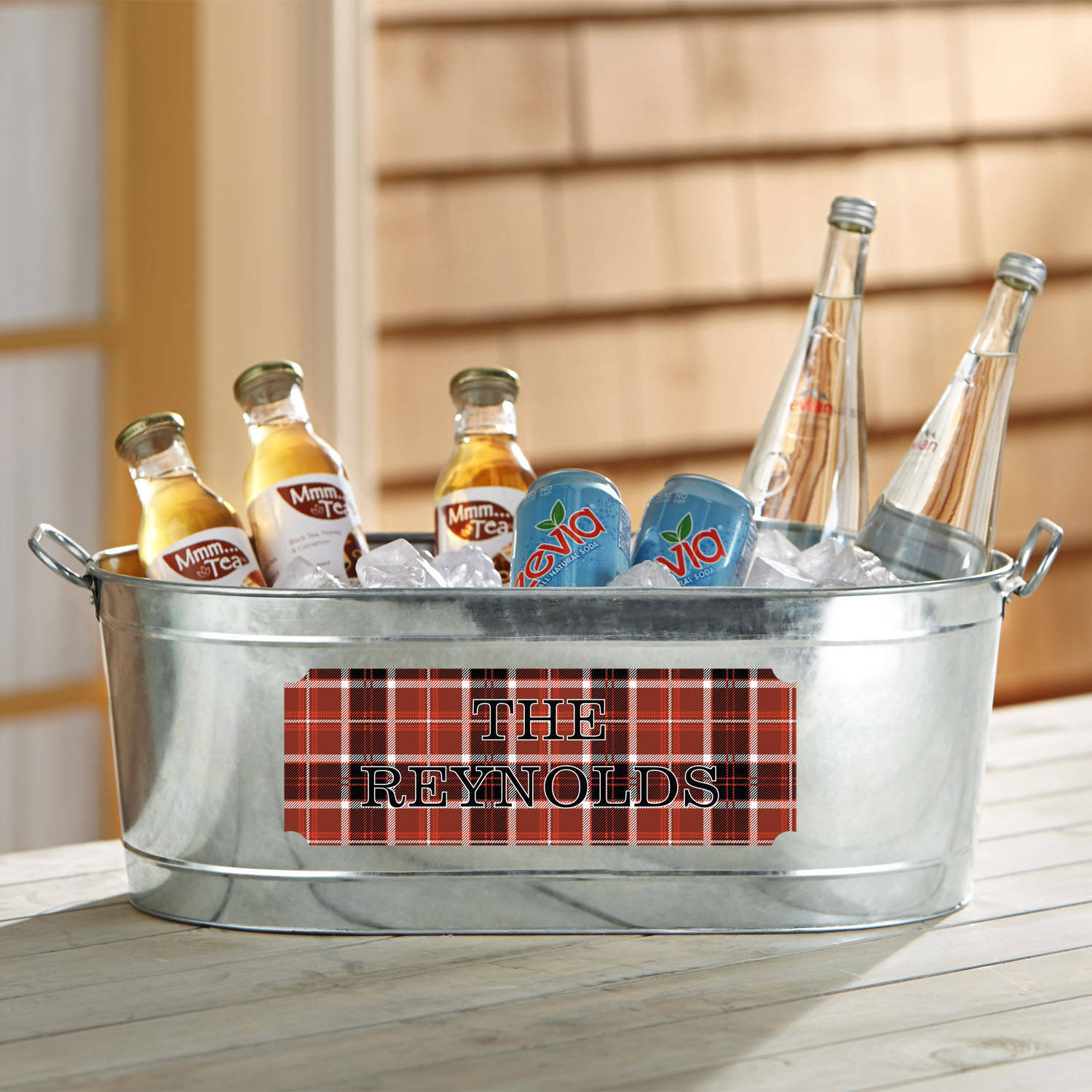 Personalized Plaid Design Beverage Tub