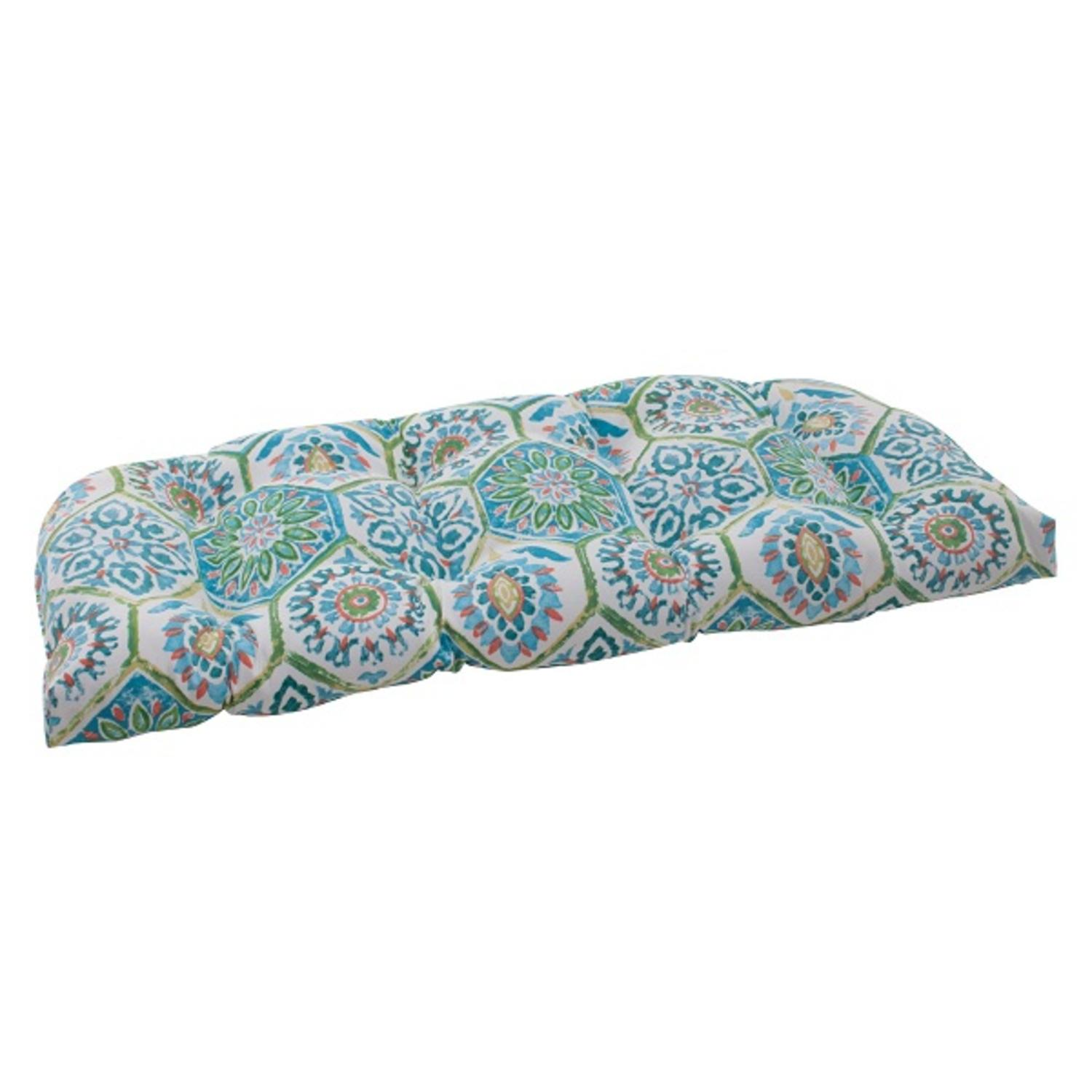 """44"""" Psychedelic Blue Outdoor Patio Tufted Wicker Loveseat Cushion"""