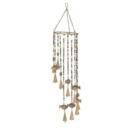 Studio 350 Coastal 26 x 7 Inch Gold Synthetic Fish Wind Chime with Bead -
