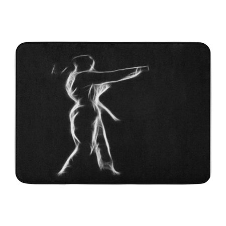 KDAGR Fractal Full Length Silhouette Portrait of Beautiful Martial Arts Girl Doormat Floor Rug Bath Mat 23.6x15.7
