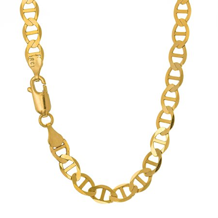 10k Solid Yellow Gold 4.5mm Mariner Chain Necklace - 16