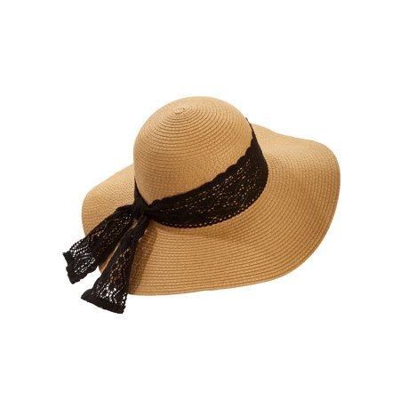 Time and Tru - Time and Tru Women s Lace Trim Floppy Hat - Walmart ... 1646622e732