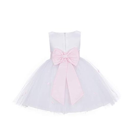 Ekidsbridal White Rosebuds Satin Tulle Flower Girl Dress Wedding Tulle Dresses Special Occasion Dresses Pageant Dresses Princess Dresses Easter Summer Dresses Toddler Girl Dresses Daily Dresses 815T