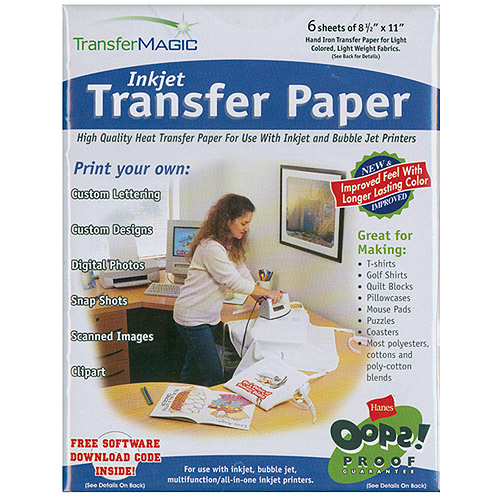 "Transfer Magic Ink Jet Transfer Paper for Light Fabric, 8-1/2"" x 11"""