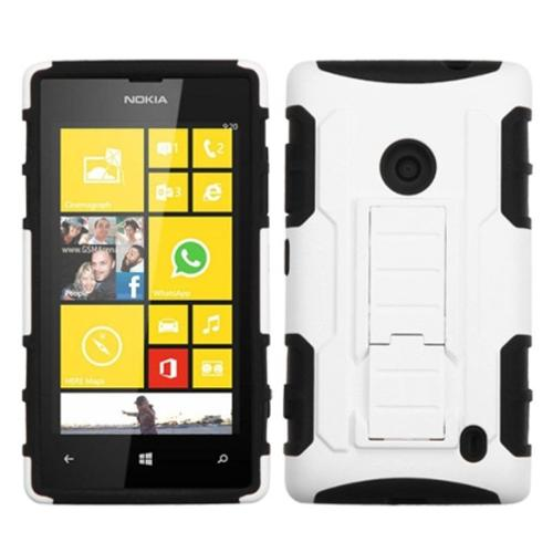 Insten White/Black Car Armor Stand Protector Rubberized Case For NOKIA Lumia 520