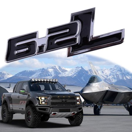 F150 250 350 Truck (Xotic Tech 1X Black 6.2L Side Door/Fender Chrome Alloy Metal Badge Emblem For Ford F-150 F-250 F-350 F-450 Raptor Truck)