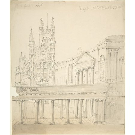 View of the Abbey and Great Pump Room at Bath Through the Colonnade Added by Thomas Baldwin 1786-9 Poster Print by Anonymous British 19th century (18 x 24)