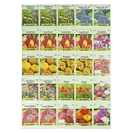 Poppy 100 Seeds - Set of 25 Valley Green Flower Seed Packets Including 10 Or More Varieties Forget Me Nots, Pinks, Marigolds, Zinnia, Wildflower, Poppy, Snapdragon and More,.., By Black Duck Brand